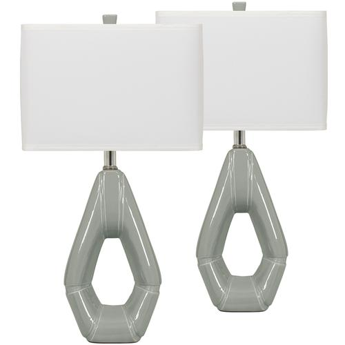 Exceptional Designs by Flash Gray Ceramic Table Lamp, Set of 2