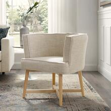 Anders Upholstered Fabric Accent Chair in Beige