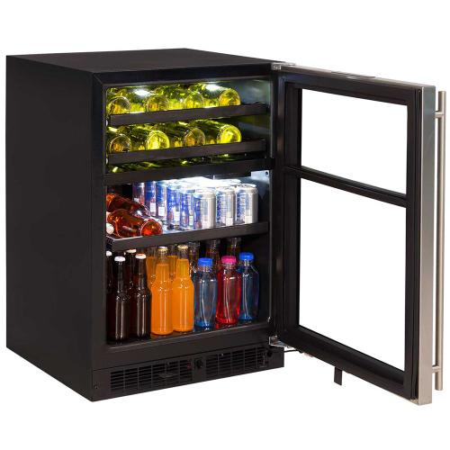 24-In Built-In Dual Zone Wine And Beverage Center with Door Style - Stainless Steel Frame Glass, Door Swing - Right