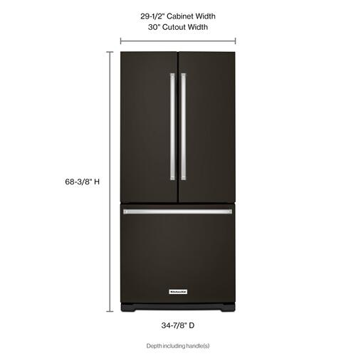 Gallery - 20 cu. Ft. 30-Inch Width Standard Depth French Door Refrigerator with Interior Dispense - Black Stainless Steel with PrintShield™ Finish