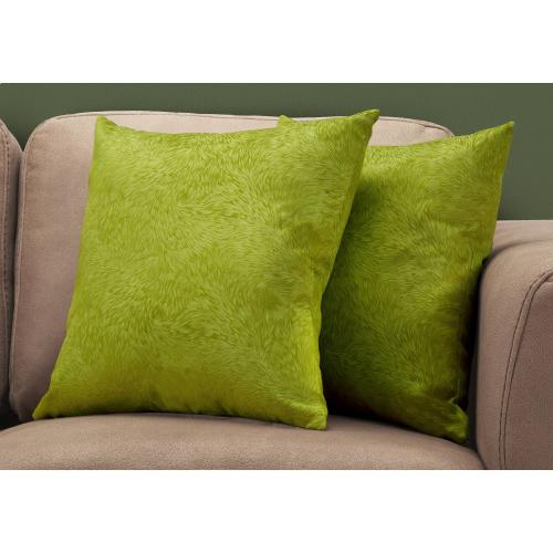 """Gallery - PILLOW - 18""""X 18"""" / LIME GREEN FEATHERED VELVET / 2PCS"""