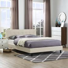 Linnea Queen Fabric Bed in Beige