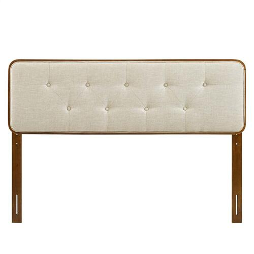 Collins Tufted Queen Fabric and Wood Headboard in Walnut Beige