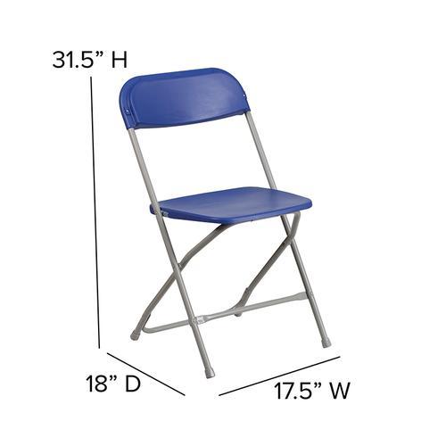 Flash Furniture - Hercules™ Series Plastic Folding Chair - Blue - 650LB Weight Capacity Comfortable Event Chair - Lightweight Folding Chair -