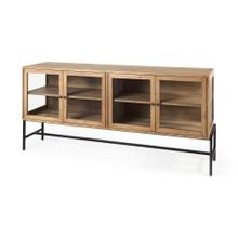 See Details - Arelius 70L x 18W x 32H Light Brown W/ Black Metal Base 4 Door Glass Cabinet Sideboard
