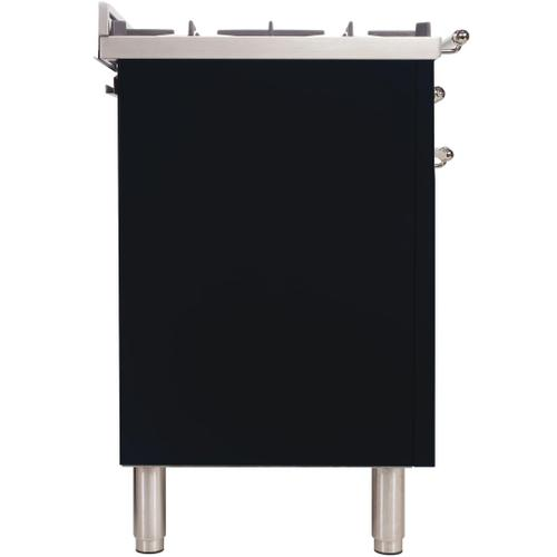 Ilve - Nostalgie 36 Inch Gas Natural Gas Freestanding Range in Glossy Black with Chrome Trim