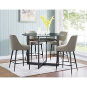 Olson 5 Piece Counter Set (Glass Counter Top Table & 4 Counter Chairs)