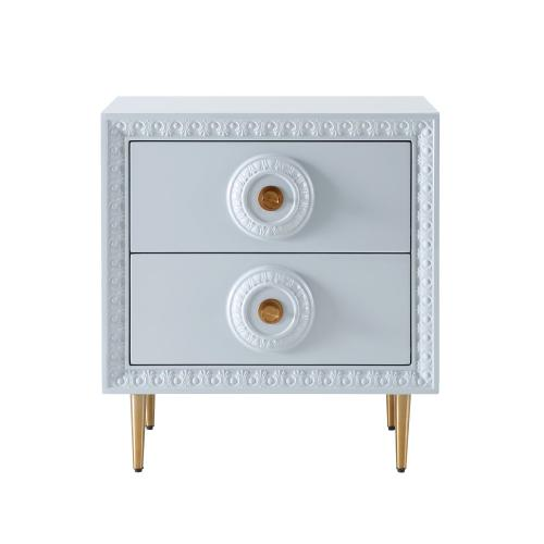 Tov Furniture - Bovey Light Grey Lacquer Side Table