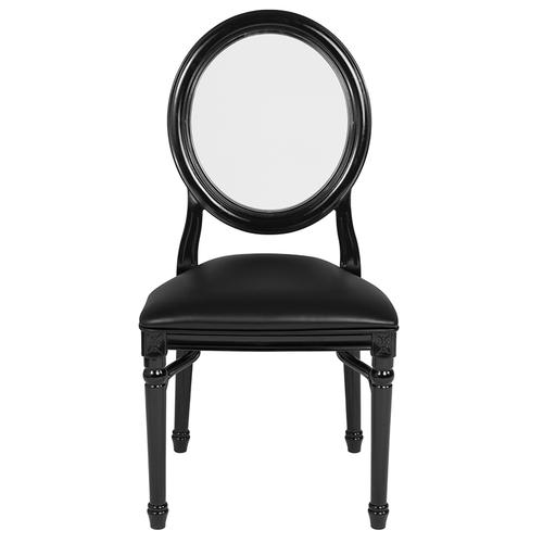 Flash Furniture - HERCULES Series 900 lb. Capacity King Louis Chair with Transparent Back, Black Vinyl Seat and Black Frame