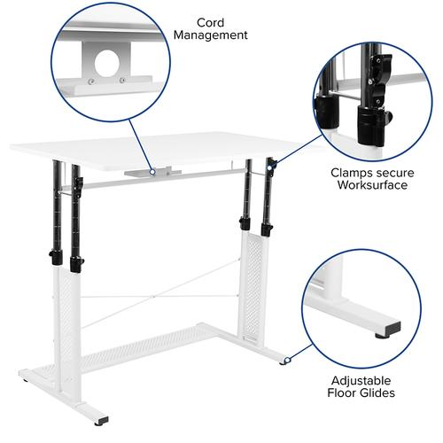 """Flash Furniture - Height Adjustable (27.25-35.75""""H) Sit to Stand Home Office Desk - White"""