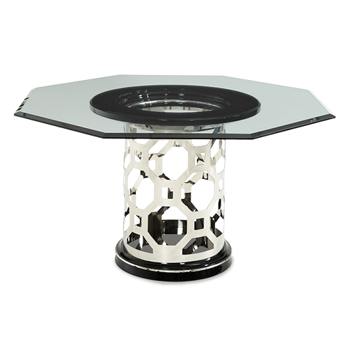 After Eight Titanium 60'' Round Dining Table with Octagonal Shaped Glass Top