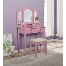 Sanlo Pink Wooden Vanity, Make Up Table and Stool Set