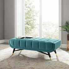 "Adept 47.5"" Performance Velvet Bench in Sea Blue"