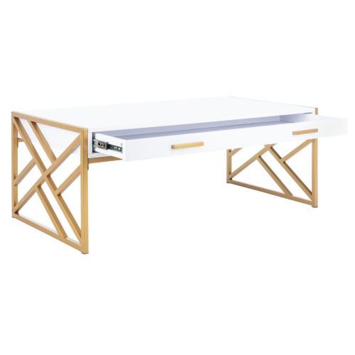 Safavieh - Elaine 2 Drawer Coffee Table - White / Gold
