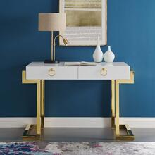 Ring Office Desk in Gold White