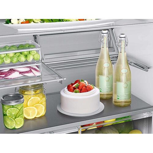23 cu. ft. Counter Depth 4-Door French Door Refrigerator with Polygon Handles in Stainless Steel