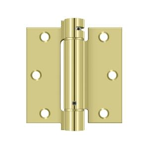 """Deltana - 3-1/2"""" x 3-1/2"""" Spring Hinge - Polished Brass"""