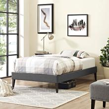 View Product - Tessie Twin Fabric Bed Frame with Squared Tapered Legs in Gray