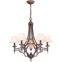 6/1-lite Chandelier,aged Pewter/wht Shade, B 60wx6 & C 7w