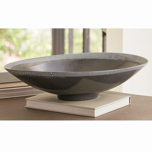 Eggshell Oval Bowl-Grey/Blue
