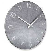 See Details - MATTE GRAY  30in w X 30in ht X 2in d  Metal and Wood Industrial Wall Clock with Chalk Gray Finish