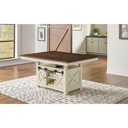 BARN DOOR STORAGE TABLE - HI LO CONVERTIBLE