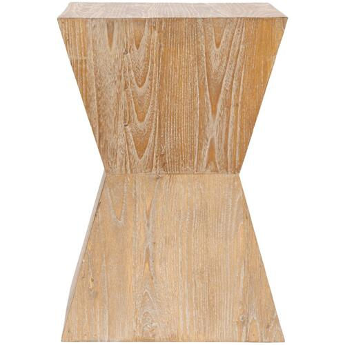 Natak Curved Oak Side Table - Pickled Oak