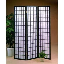 See Details - 3 Panel Black Oriental Shoji Screen / Room Divider