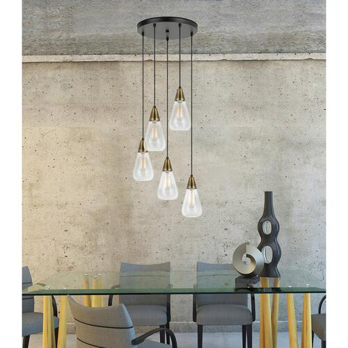60W X 5 Ellyn Glass Pendant (Edison Bulbs Not included)