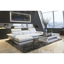 Divani Casa 5136C Modern White & Grey Bonded Leather Sectional Sofa