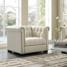 Heritage Performance Velvet Armchair in Ivory