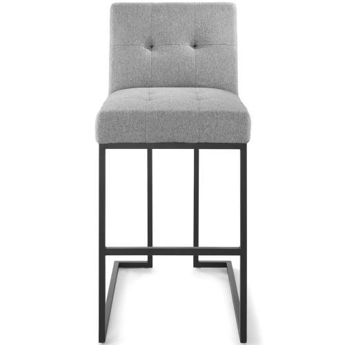 Privy Black Stainless Steel Upholstered Fabric Bar Stool in Black Light Gray