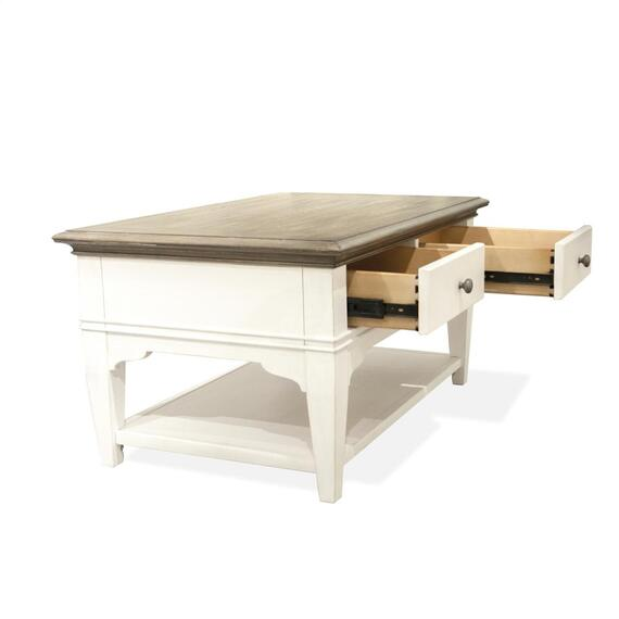 Riverside - Myra - Small Leg Coffee Table - Natural/paperwhite Finish