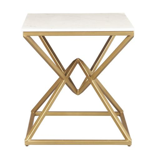 Geo Pyramid Stone and Metal End Table Base - Gold and White