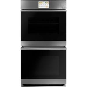 "Cafe27"" Smart Double Wall Oven with Convection in Platinum Glass"
