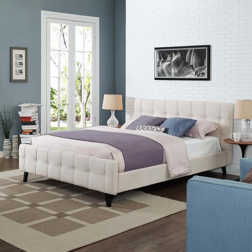 Modway - Ophelia Queen Fabric Bed in Beige