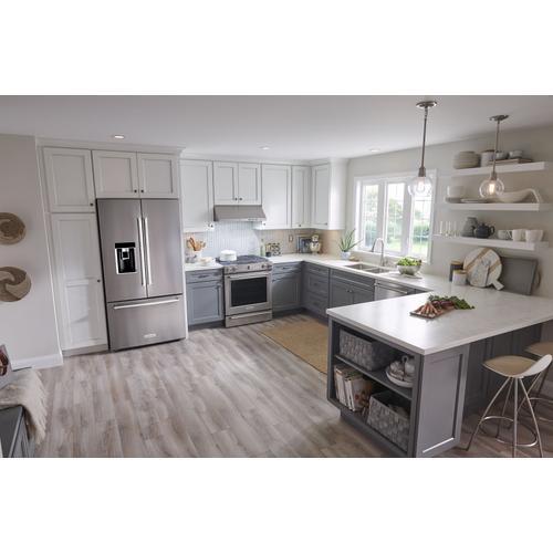 "Product Image - 23.8 cu. ft. 36"" Counter-Depth French Door Platinum Interior Refrigerator with PrintShield™ Finish - Stainless Steel with PrintShield™ Finish"