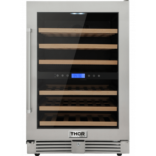 Thor KitchenThor Kitchen 24in. 46-Bottles Indoor/outdoor Independent Dual Zone Wine Cooler In 304 Stainless Steel With Full Extension Smooth-Glide Wine Racks And Electronic Touch Control