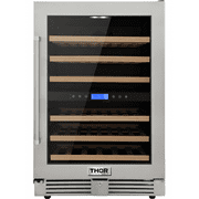 Thor Kitchen 24in. 46-bottles Indoor/outdoor Independent Dual Zone Wine Cooler In 304 Stainless Steel With Full Extension Smooth-glide Wine Racks and Electronic Touch Control Product Image