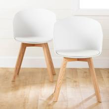 Dining Chair with Wooden Legs - Set of 2 - White