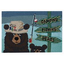 Liora Manne Frontporch Fishing Bears Indoor/Outdoor Rug Green