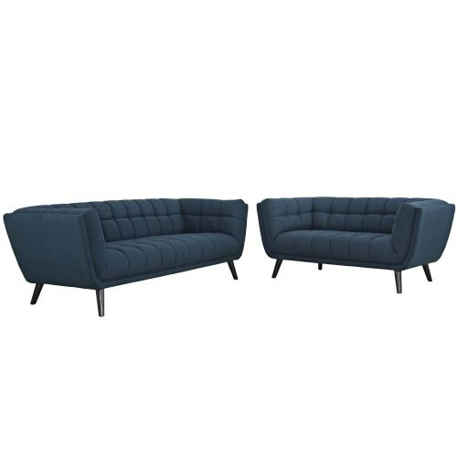 Modway - Bestow 2 Piece Upholstered Fabric Sofa and Loveseat Set in Blue