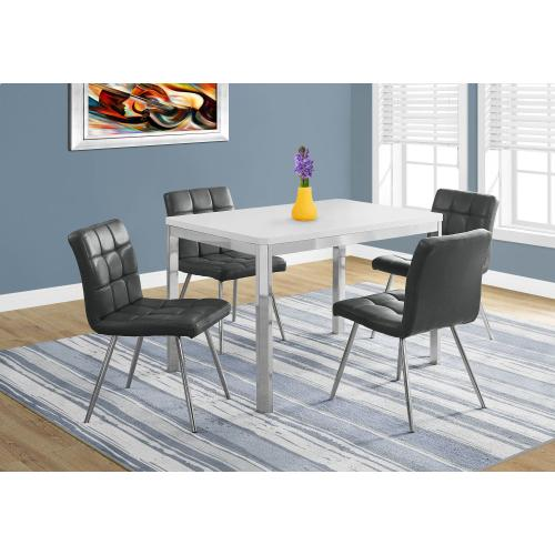 """Gallery - DINING TABLE - 32""""X 48"""" / WHITE / CHROME METAL"""