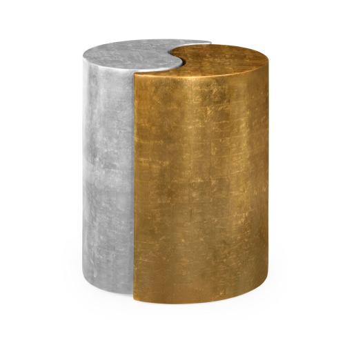 Jonathan Charles - Circular Two-Piece Yin & Yang Gilded & Silver Drinks Table