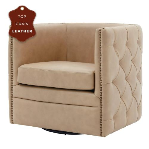 Leslie Top Grain Leather Swivel Tufted Accent Arm Chair, Garrett Beige