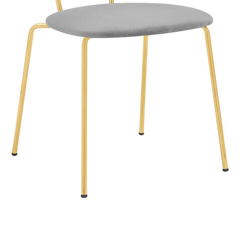 Neo Modern Grey Fabric and Gold Metal Leg Dining Room Chairs - Set of 2