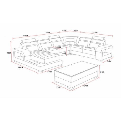 Divani Casa T322 Modern White & Black Eco-Leather Sectional Sofa