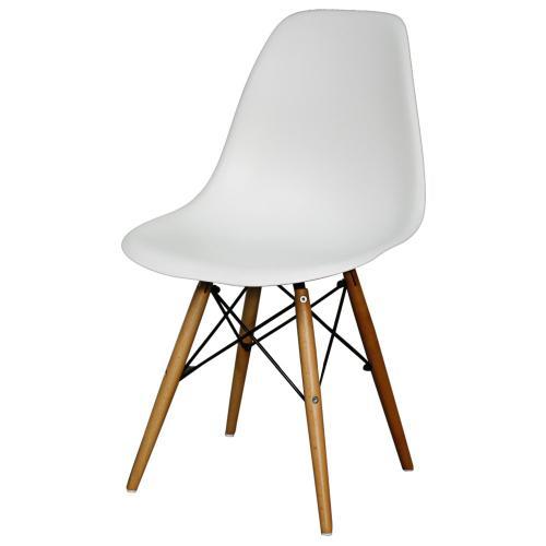 Allen Molded PP Dining Side Chair Maple Dowel Legs, White