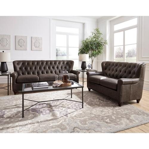 Charlie Tufted Leather Sofa in Heritage Brown