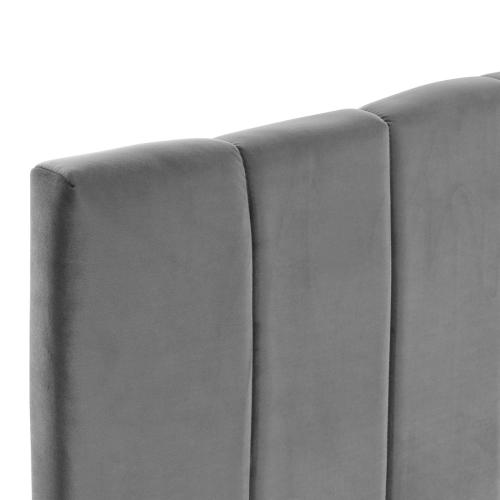 Camilla Channel Tufted Full/Queen Performance Velvet Headboard in Charcoal